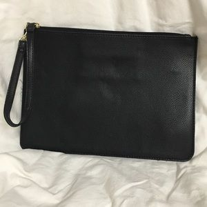 Black flat clutch with wrist strap NWOT